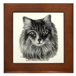 Long-Haired Gray Cat Framed Tile