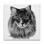 Long-Haired Gray Cat Tile Coaster