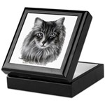 Long-Haired Gray Cat Keepsake Box