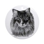 Long-Haired Gray Cat Ornament (Round)