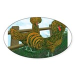 Golden Polish Chickens Oval Sticker