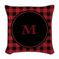 Red Black Plaid Monogram Woven Throw Pillow