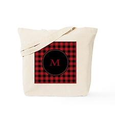 Red Black Plaid Monogram Tote Bag