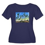 Palm Tree Beach Women's Plus Size Scoop Neck Dark