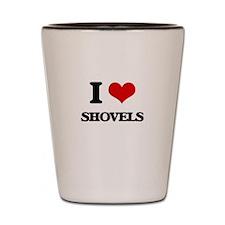 I Love Shovels Shot Glass