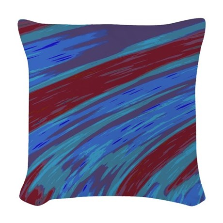 Blue Red Swish Abstract Woven Throw Pillow