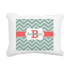 Mint Coral Chevron Personalized Rectangular Canvas