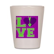 Purple and Green Cheerleader Shot Glass