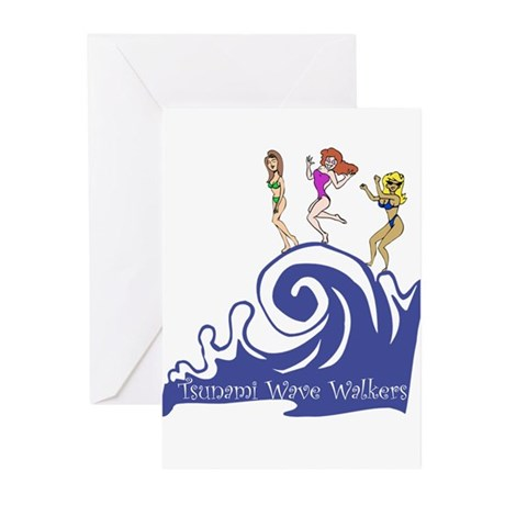 Tsunami Wave Walkers Greeting Cards (Pk of 10)