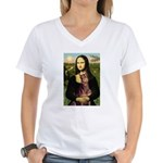 Mona's Red Doberman Women's V-Neck T-Shirt