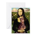 Mona's Red Doberman Greeting Cards (Pk of 10)
