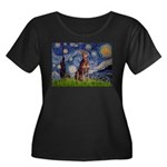 Starry / Red Doberman Women's Plus Size Scoop Neck