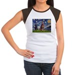Starry / Red Doberman Women's Cap Sleeve T-Shirt
