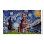 Starry / Red Doberman Sticker (Rectangle)