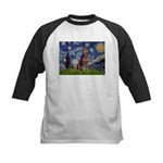 Starry / Red Doberman Kids Baseball Jersey