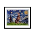 Starry / Red Doberman Framed Panel Print