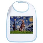 Starry / Red Doberman Bib