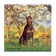 Spring / Doberman Tile Coaster