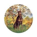 Spring / Doberman Ornament (Round)