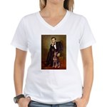 Lincoln's Red Doberman Women's V-Neck T-Shirt