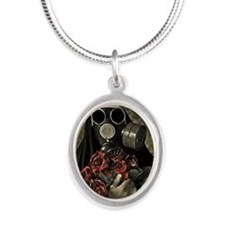 Unique Gas mask Silver Oval Necklace