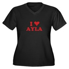 I LOVE AYLA Women's Plus Size V-Neck Dark T-Shirt