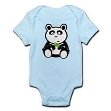 Cartoon Panda with Leaves Body Suit