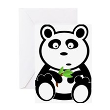 Cartoon Panda with Leaves Greeting Cards