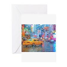 Times Sq. Taxi: Rain Storm Greeting Cards