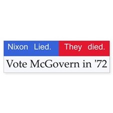 Down With Nixon! George Mcgovern Bumper Car Sticker