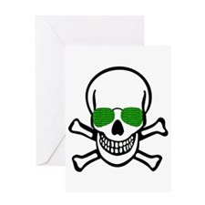 skull hacker t-shirt numbers comput Greeting Cards