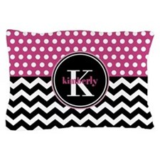 Pink Polka Dots Black Chevron Monogram Pillow Case