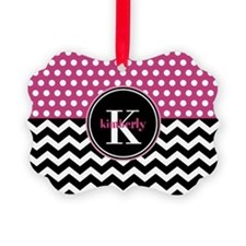 Pink Polka Dots Black Chevron Mon Ornament