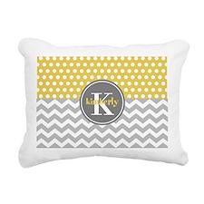 Yellow Gray Dots Chevron Rectangular Canvas Pillow