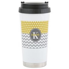 Yellow Gray Dots Chevro Travel Mug