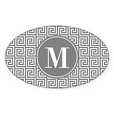 Gray White Greek Key Custom Monogra Decal