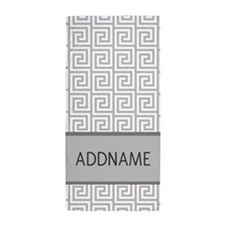 Gray and White Greek Key Monogram Beach Towel