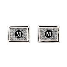 Black and White Greek Key Cu Rectangular Cufflinks
