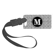 Black and White Greek Key Custom Luggage Tag