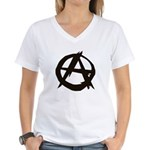 Anarchy-Blk-Whte Women's V-Neck T-Shirt