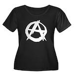 Anarchy-Blk-Whte Women's Plus Size Scoop Neck Dark