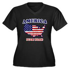 America Fuck Yeah! (Distresse Womens Plus Size V-
