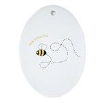 1st Bee Flying Fancy Oval Ornament