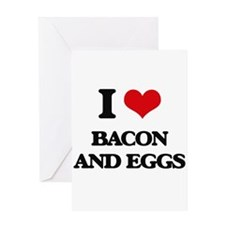 bacon and eggs Greeting Cards