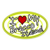 Hypno I Love My Bracco Italiano Oval Sticker Ylw