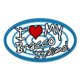 Hypno I Love My Bracco Italiano Oval Sticker Blu