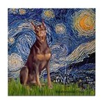 Starry / Red Doberman Tile Coaster