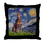 Starry / Red Doberman Throw Pillow