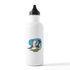Bull Terrier Chewing Steel Water Bottle