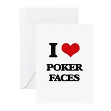 poker faces Greeting Cards